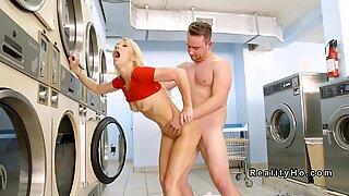 Slim blonde Milf anal banged in laundromat