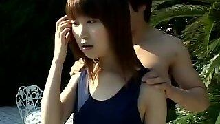 Guy perverts innocent Japanese schoolgirl in the poolside