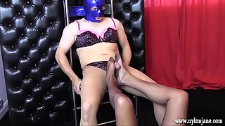 Milf teases sissy big cock with her nylon feet to spunk