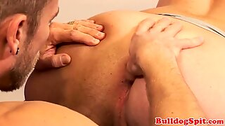 UK office studs assfucking after rimjob
