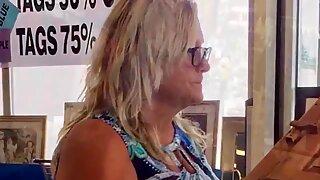 BBW Blonde Granny Upskirt Plump Ass