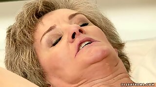 Voluptuous granny bounces her snatch on a thick boner