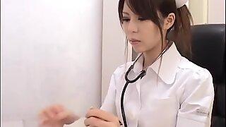 Japanese Nurse Handjob with Latex Gloves