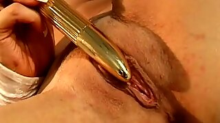 Horny Blonde Housewife With Dildo