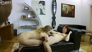 Beautiful blonde babe Angel Hott in threesome with granny and man