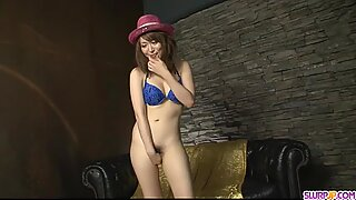 Horny Asian babe playing with cock and scr