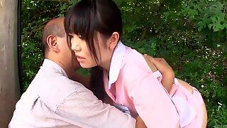 Subtitled bizarre Japanese half naked caregiver outdoors