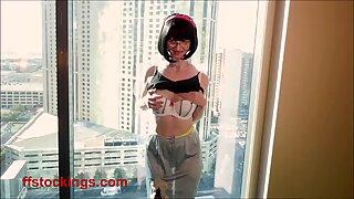 FFstockings - Exhibitionist Julia at the window