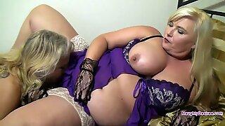 Lesbian Mom eats a busty blondes hairy minge