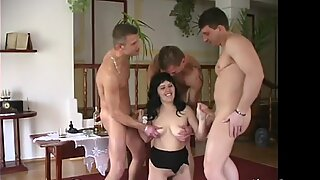 Sexy babe is getting gangbanged in a foursome.mp4