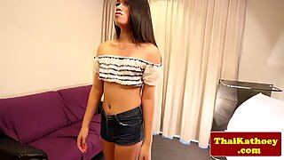 Petite thai tranny paints her nails